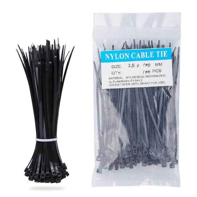 Nylon Zip Ties(100 pcs), 4 x 0.1 inch, Black, UL Certified