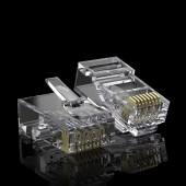 CAT.6 RJ-45 Pass Through Connectors, CAT.6 Ethernet Ends Modular UTP Plug Connector with Flexible Latch, 100-Pack